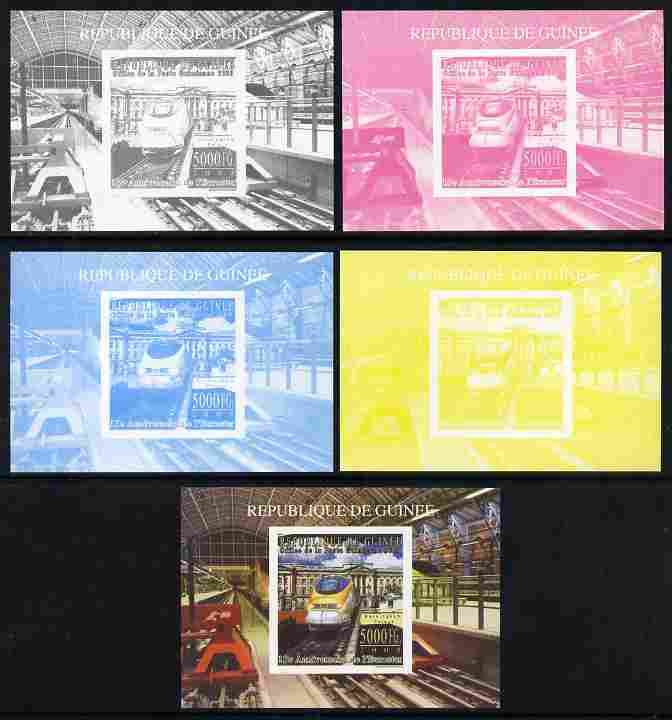 Guinea - Conakry 2009 15th Anniversary of Eurostar #5 individual deluxe sheet as Michel 7160 - the set of 5 imperf progressive proofs comprising the 4 individual colours plus all 4-colour composite, unmounted mint