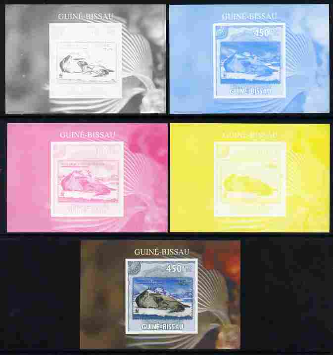 Guinea - Bissau 2010 WWF - Stamp On Stamp #1 - Leopard Seal (AAT) individual deluxe sheet - the set of 5 imperf progressive proofs comprising the 4 individual colours plus all 4-colour composite, unmounted mint