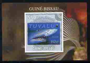 Guinea - Bissau 2010 WWF - Stamp On Stamp #2 - Tiger Shark (Tuvalu) individual imperf deluxe sheet unmounted mint. Note this item is privately produced and is offered purely on its thematic appeal