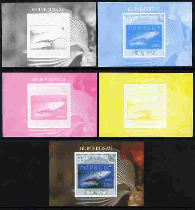 Guinea - Bissau 2010 WWF - Stamp On Stamp #2 - Tiger Shark (Tuvalu) individual deluxe sheet - the set of 5 imperf progressive proofs comprising the 4 individual colours p...