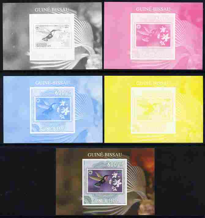 Guinea - Bissau 2010 WWF - Stamp On Stamp #3 - Humming Bird (Grenada Genadines) individual deluxe sheet - the set of 5 imperf progressive proofs comprising the 4 individual colours plus all 4-colour composite, unmounted mint
