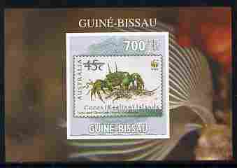 Guinea - Bissau 2010 WWF - Stamp On Stamp #4 - Ghost Crab (Cocos Is) individual imperf deluxe sheet unmounted mint. Note this item is privately produced and is offered purely on its thematic appeal