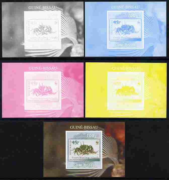 Guinea - Bissau 2010 WWF - Stamp On Stamp #4 - Ghost Crab (Cocos Is) individual deluxe sheet - the set of 5 imperf progressive proofs comprising the 4 individual colours plus all 4-colour composite, unmounted mint