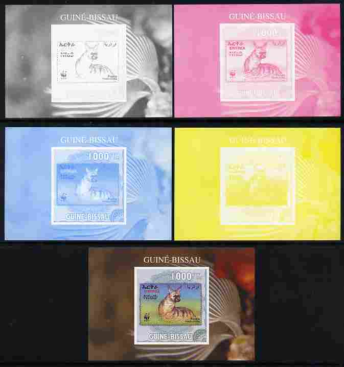 Guinea - Bissau 2010 WWF - Stamp On Stamp #5 - Protele (Eritrea) individual deluxe sheet - the set of 5 imperf progressive proofs comprising the 4 individual colours plus all 4-colour composite, unmounted mint