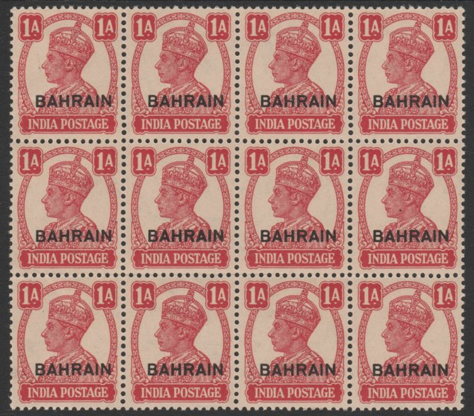 Bahrain 1942-45 KG6 opt on India 1a carmine fine block of 12 unmounted mint but light overall toning and slight gum disturbance on top left stamp (top right as seen from ...