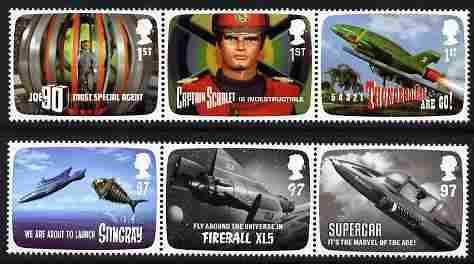 Great Britain 2011 FAB The Genius of Gerry Anderson perf set of 6 (2 se-tenant strios of 3) unmounted mint