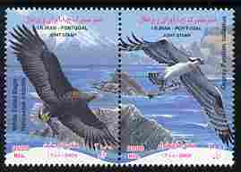 Iran & Portugal 2010 Joint Issues - White-tailed Eagle & Ospreys perf set of 2 (se-tenant pair) unmounted mint
