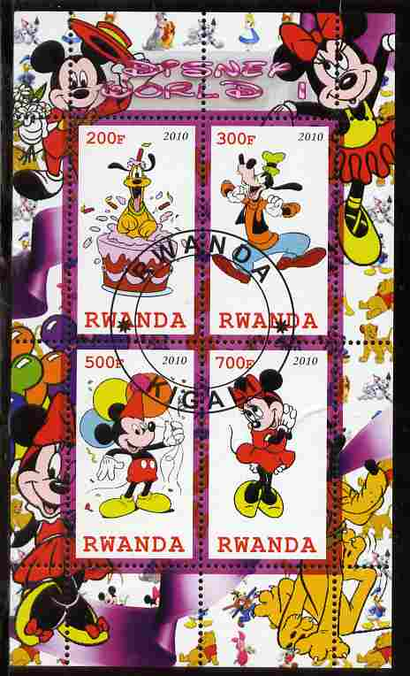 Rwanda 2010 Disney World #1 perf sheetlet containing 4 values fine cto used