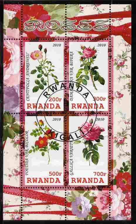 Rwanda 2010 Flowers - Roses perf sheetlet containing 4 values fine cto used