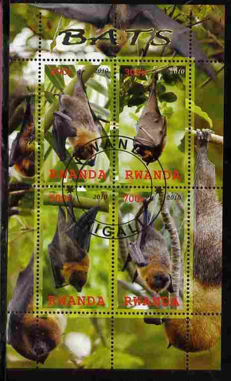 Rwanda 2010 Bats perf sheetlet containing 4 values fine cto used
