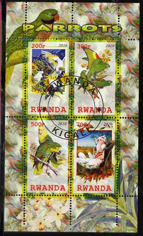 Rwanda 2010 Parrots perf sheetlet containing 4 values fine cto used