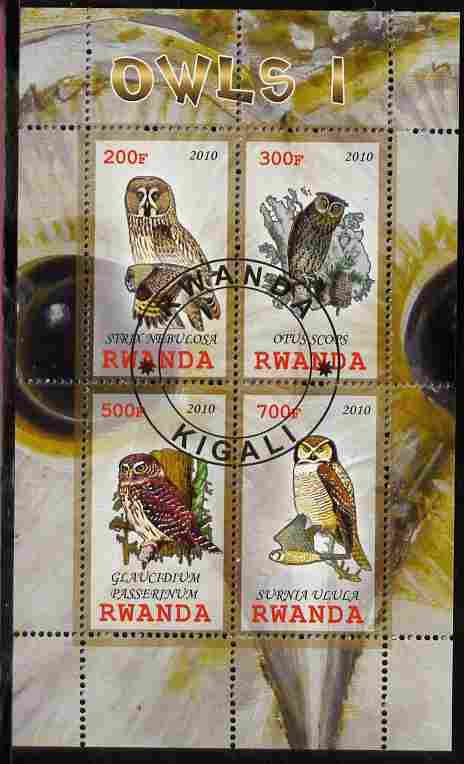 Rwanda 2010 Owls #1 perf sheetlet containing 4 values fine cto used