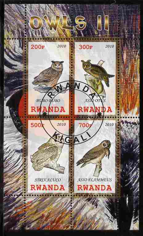 Rwanda 2010 Owls #2 perf sheetlet containing 4 values fine cto used
