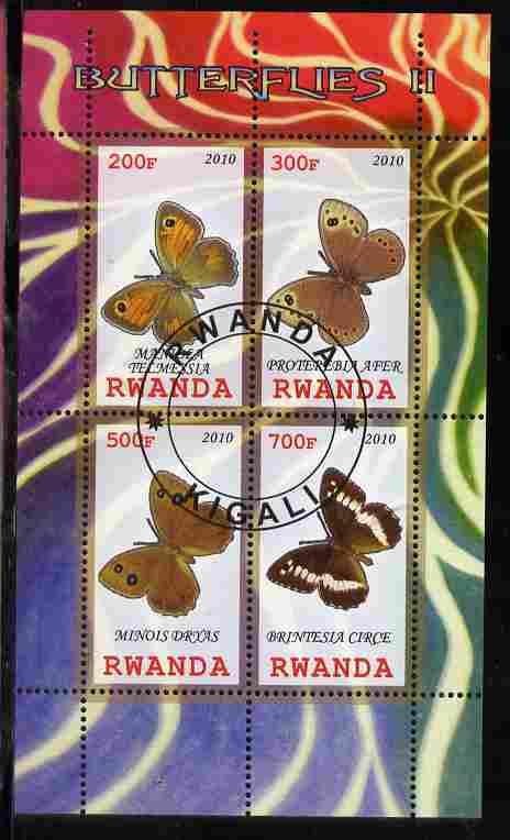 Rwanda 2010 Butterflies #2 perf sheetlet containing 4 values fine cto used
