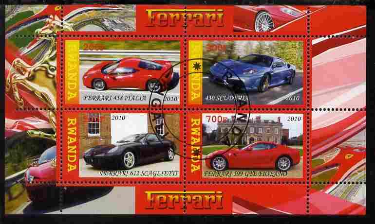 Rwanda 2010 Ferrari Cars perf sheetlet containing 4 values fine cto used