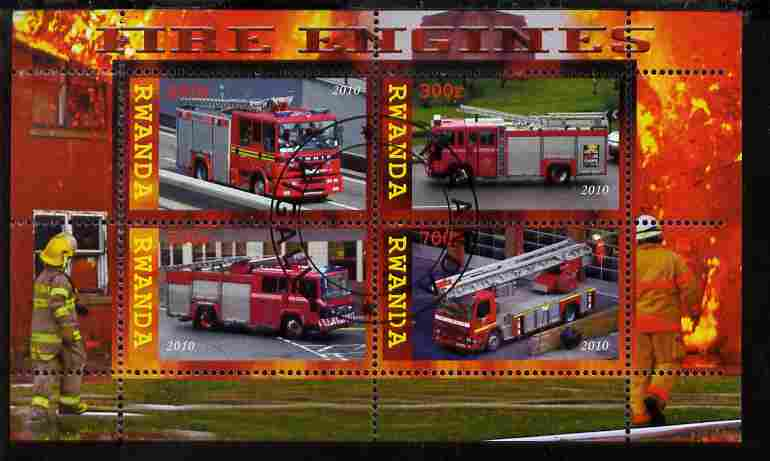 Rwanda 2010 Fire Engines perf sheetlet containing 4 values fine cto used