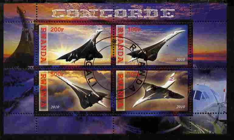 Rwanda 2010 Concorde perf sheetlet containing 4 values fine cto used