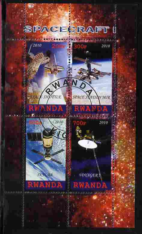 Rwanda 2010 Spacecraft #1 perf sheetlet containing 4 values fine cto used