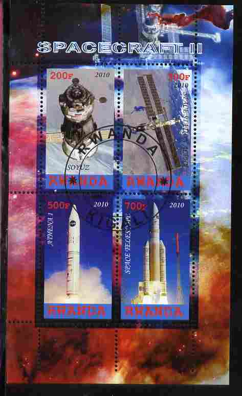 Rwanda 2010 Spacecraft #2 perf sheetlet containing 4 values fine cto used
