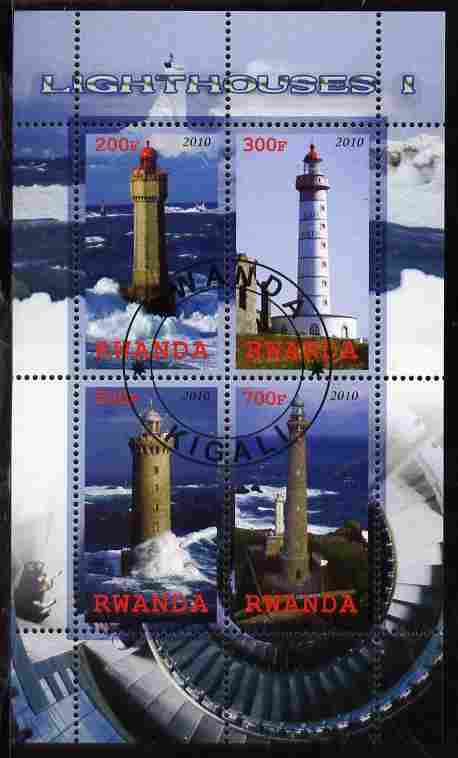 Rwanda 2010 Lighthouses #1 perf sheetlet containing 4 values fine cto used