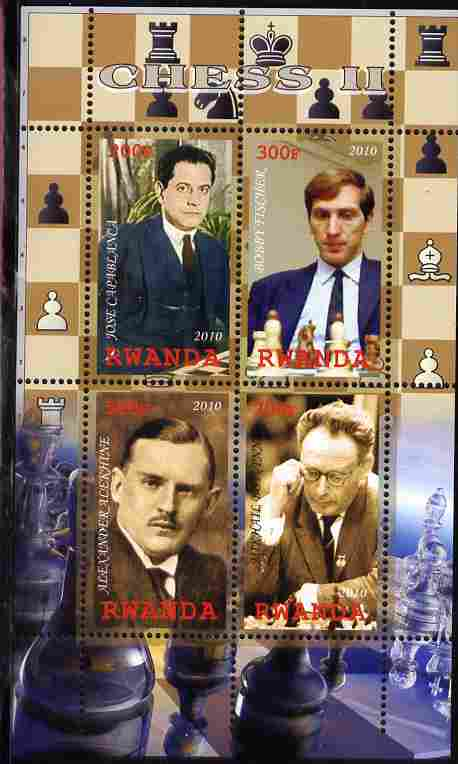 Rwanda 2010 Chess Masters #2 perf sheetlet containing 4 values unmounted mint