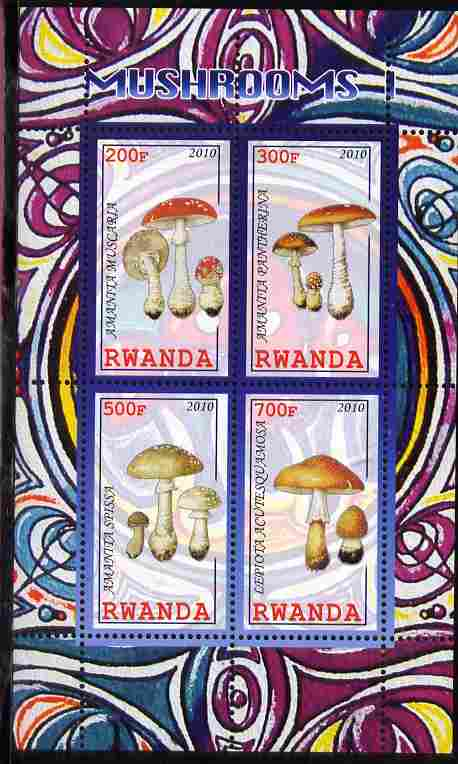 Rwanda 2010 Mushrooms #1 perf sheetlet containing 4 values unmounted mint