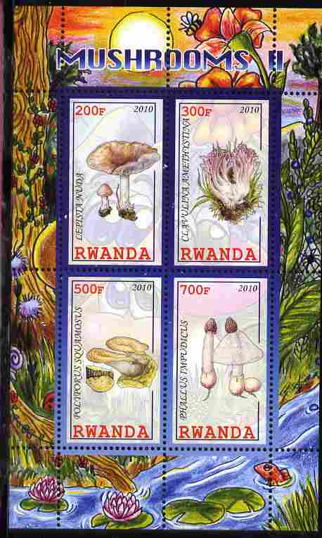 Rwanda 2010 Mushrooms #2 perf sheetlet containing 4 values unmounted mint, stamps on fungi