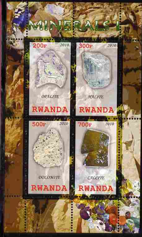 Rwanda 2010 Minerals #1 perf sheetlet containing 4 values unmounted mint