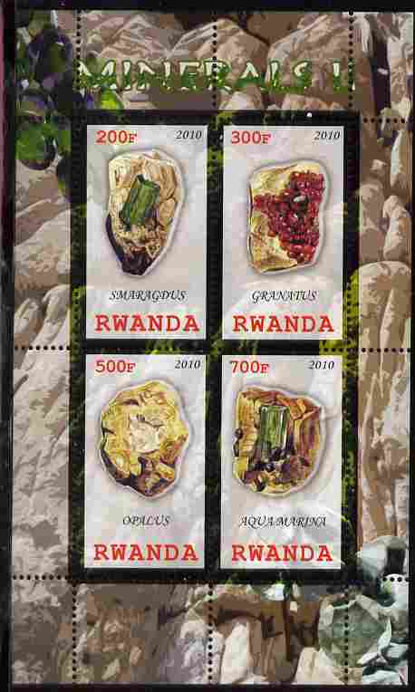 Rwanda 2010 Minerals #2 perf sheetlet containing 4 values unmounted mint