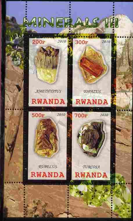 Rwanda 2010 Minerals #3 perf sheetlet containing 4 values unmounted mint