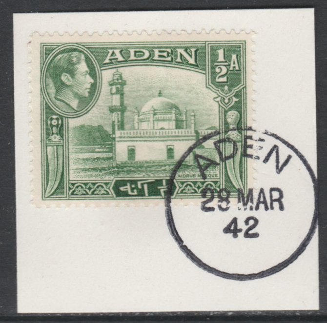 Aden 1939-48 KG6 Aidrus Mosque 1/2a yellowish-green on piece with full strike of Madame Joseph forged postmark type 3, stamps on religion, stamps on  kg6 , stamps on mosques, stamps on islam