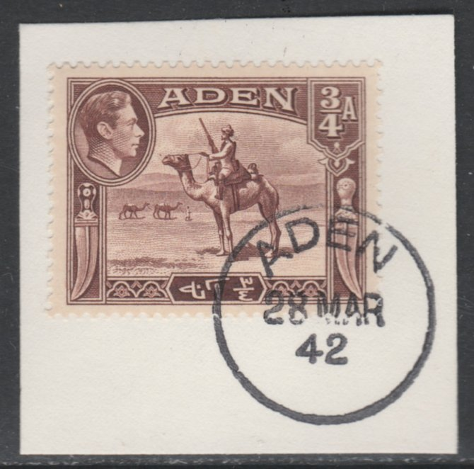 Aden 1939-48 KG6 Camel Corps 3/4a red-brown on piece with full strike of Madame Joseph forged postmark type 3