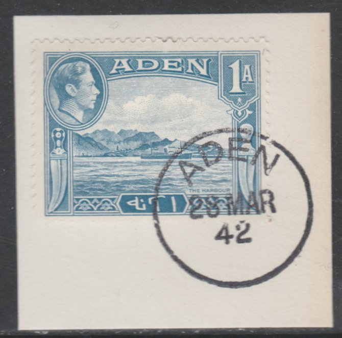 Aden 1939-48 KG6 The Harbour 1a pale blue on piece with full strike of Madame Joseph forged postmark type 3