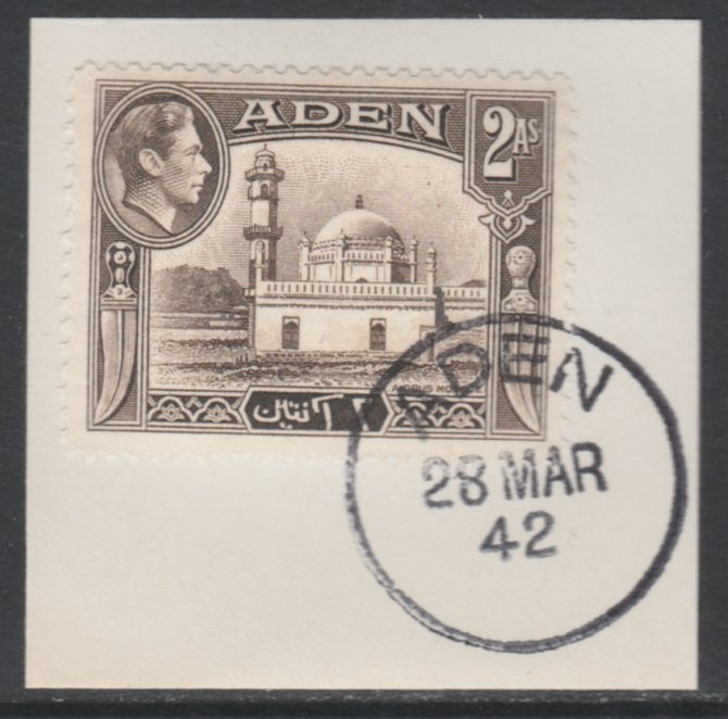 Aden 1939-48 KG6 Airdrus Mosque 2a sepia on piece with full strike of Madame Joseph forged postmark type 3