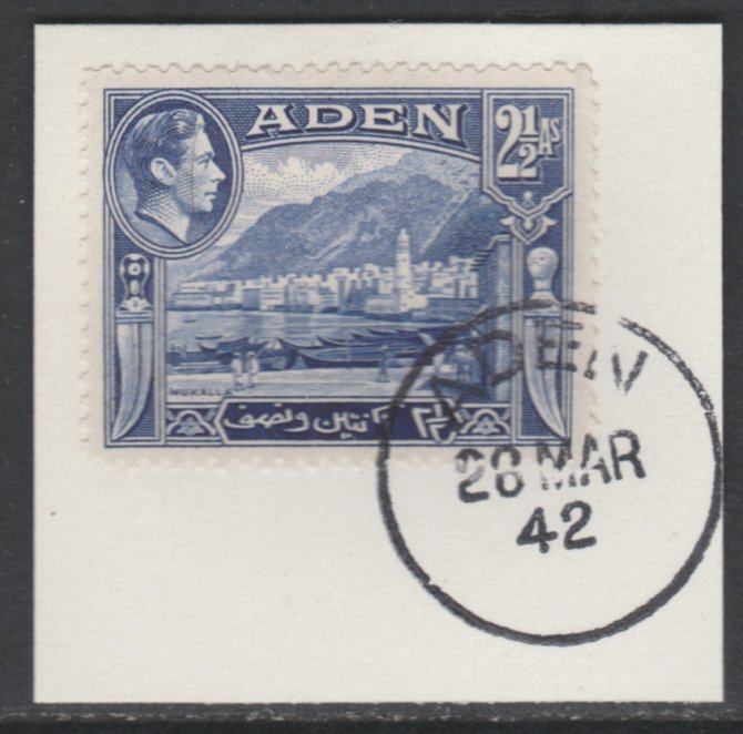 Aden 1939-48 KG6 Mukalla 2.5a deep ultramarine on piece with full strike of Madame Joseph forged postmark type 3