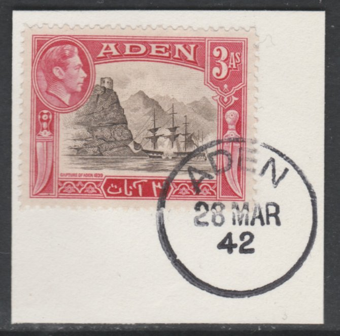 Aden 1939-48 KG6 Capture of Aden 3a sepia & carmine on piece with full strike of Madame Joseph forged postmark type 3