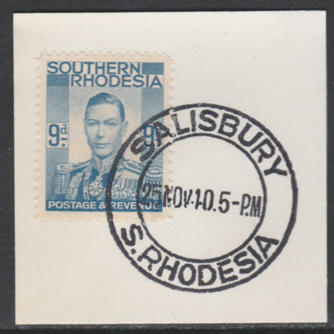 Southern Rhodesia 1937 KG6 def 9d pale blue on piece with full strike of Madame Joseph forged postmark type 332, SG46