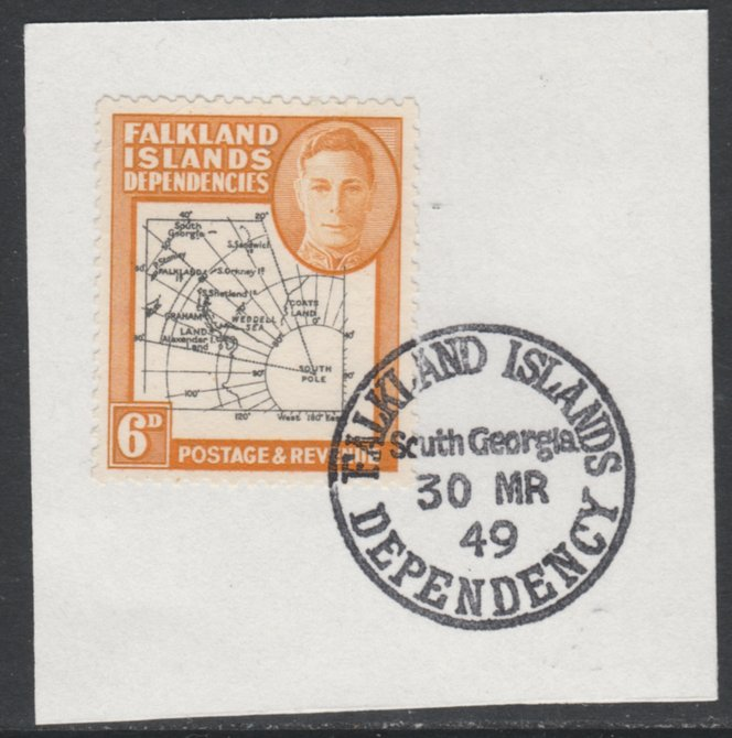 Falkland Islands Dependencies 1946-49 KG6 Thick Maps 6d on piece with full strike of Madame Joseph forged postmark type 158, SG G6