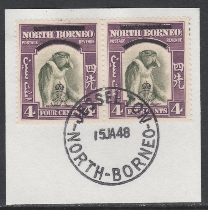 North Borneo 1947 KG6 Crown Colony 4c Monkey horizontal pair on piece with full strike of Madame Joseph forged postmark type 311, SG338