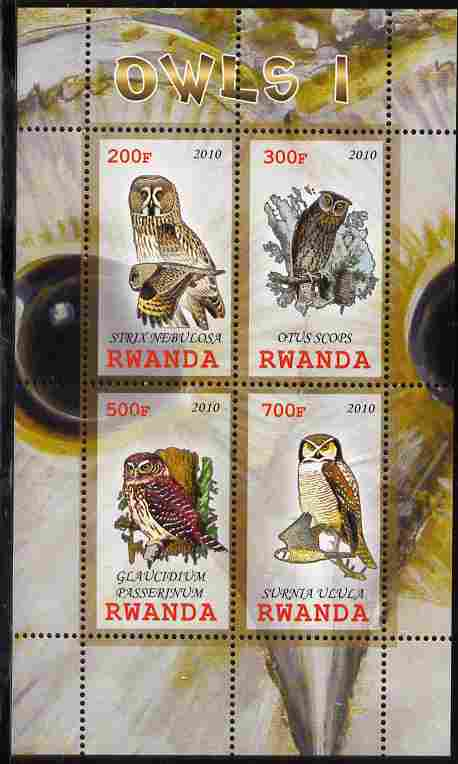 Rwanda 2010 Owls #1 perf sheetlet containing 4 values unmounted mint