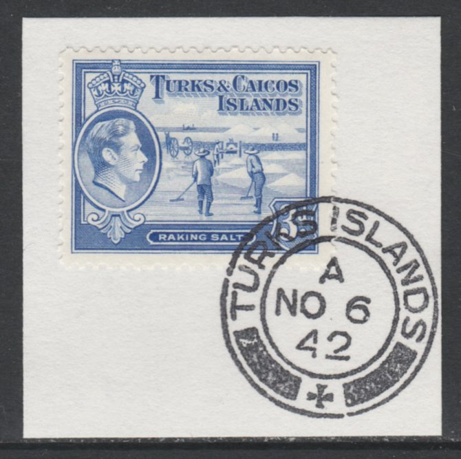 Turks & Caicos Islands 1938 KG6 Raking Salt 3d bright blue  SG 200 on piece with full strike of Madame Joseph forged postmark type 427