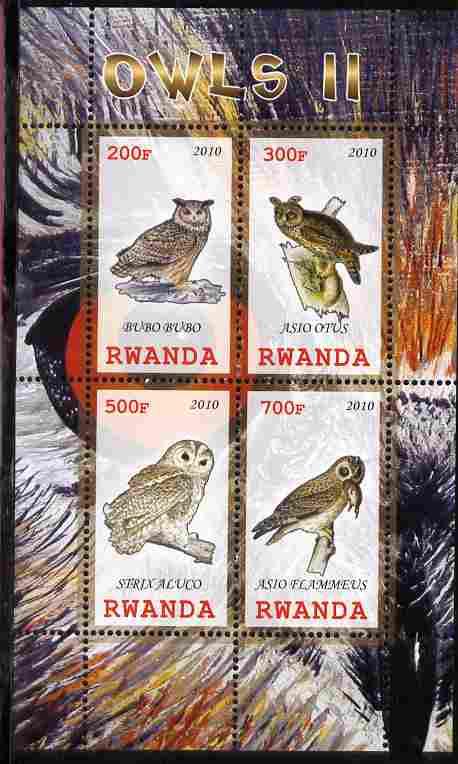 Rwanda 2010 Owls #2 perf sheetlet containing 4 values unmounted mint
