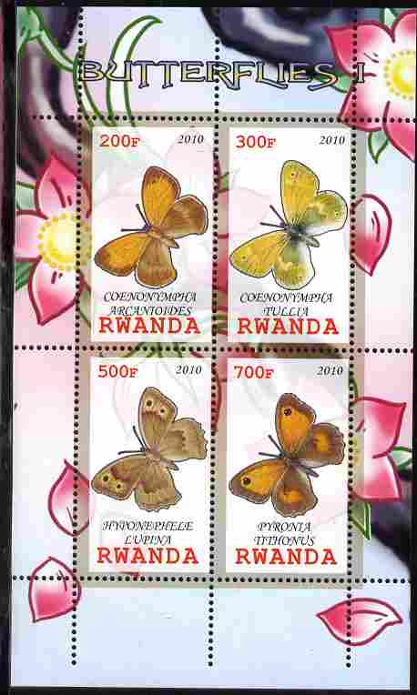 Rwanda 2010 Butterflies #1 perf sheetlet containing 4 values unmounted mint