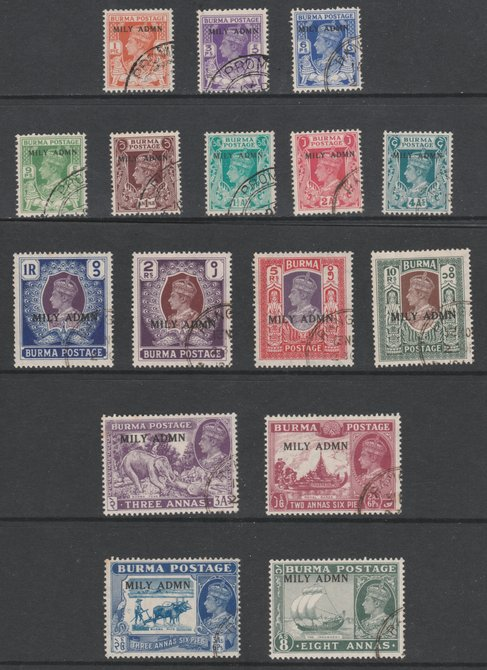Burma 1945 Mily Admin opt on KG6 complete set of 16 fine cds used SG 35-50. Blocks of 4 available price pro-rata, please buy x 4 if interested