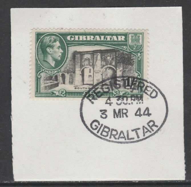 Gibraltar 1938-51 KG6 1s black & green P14 on piece with full strike of Madame Joseph forged postmark type 188, SG 127