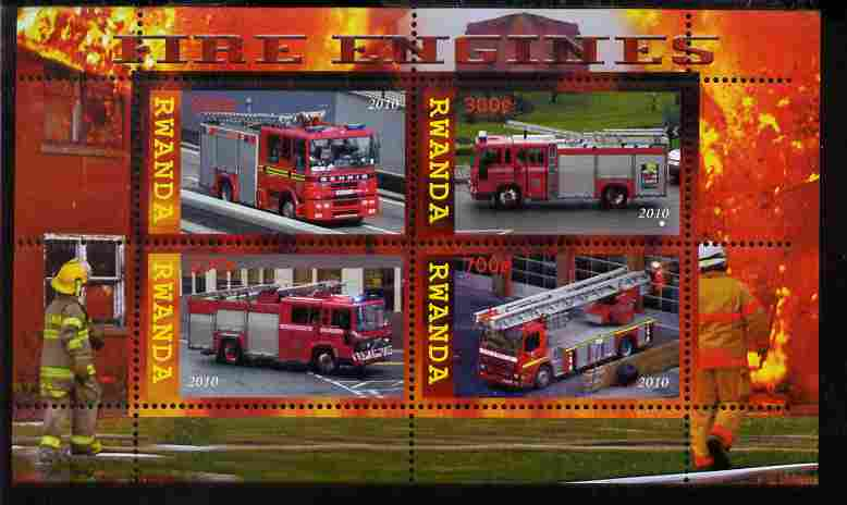 Rwanda 2010 Fire Engines perf sheetlet containing 4 values unmounted mint
