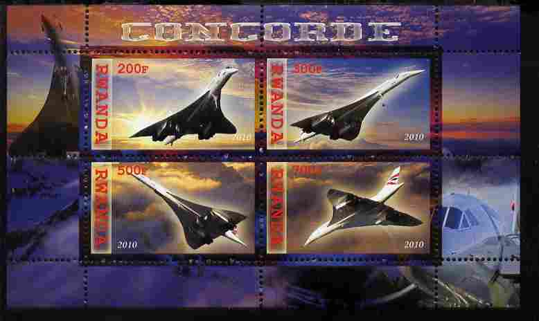 Rwanda 2010 Concorde perf sheetlet containing 4 values unmounted mint