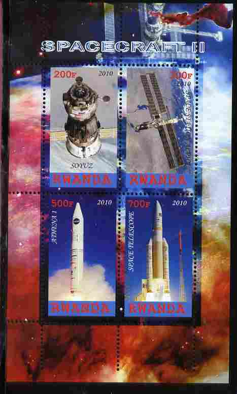 Rwanda 2010 Spacecraft #2 perf sheetlet containing 4 values unmounted mint