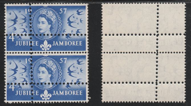 Great Britain 1957 World Scout Jamboree 4d unmounted mint vertical pair with perforations doubled (stamps are quartered). Note: the stamps are genuine but the additional perfs are a slightly different gauge identifying it to be a forgery.