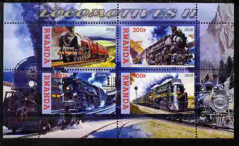 Rwanda 2010 Steam Locomotives #2 perf sheetlet containing 4 values unmounted mint
